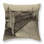 Dune Erosion Fence Outer Banks Nc Antique Plate Img_3761 Throw Pillow
