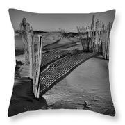 Dune Erosion Fence Outer Banks Nc B And W Img_3761 Throw Pillow
