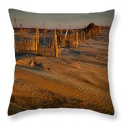 Dune Erosion Fence Outer Banks Nc Img3748 Throw Pillow