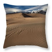 Dunes Ripples And Clouds Throw Pillow