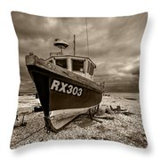 Dungeness Boat Under Stormy Skies Throw Pillow