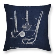 Dunn Golf Club Patent Drawing From 1900 - Navy Blue Throw Pillow