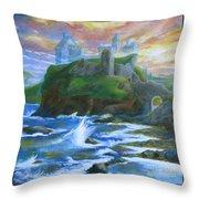 Dunscaith Castle - Shadows Of The Past Throw Pillow