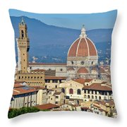 Duomo Florence And Palazzo Vecchio Throw Pillow