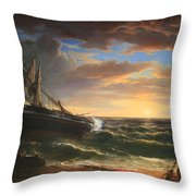Durand's The Stranded Ship Throw Pillow