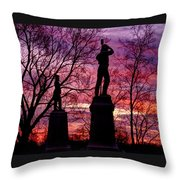 Durell's Independent Battery D And 48th Pa Volunteer Infantry-a1 Sunset Antietam Throw Pillow by Michael Mazaika