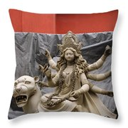 Durga In Kumartuli Throw Pillow