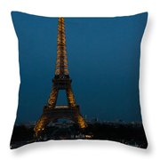 Dusk At Eiffel Tower Throw Pillow