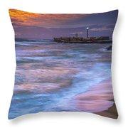 Dusk At La Caleta Beach Cadiz Spain Throw Pillow