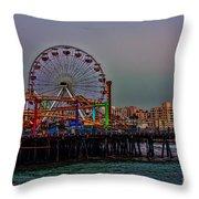 Dusk At The Santa Monica Pier Throw Pillow