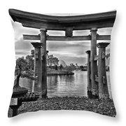 Dusk At World Showcase Lagoon Black And White Walt Disney World Throw Pillow