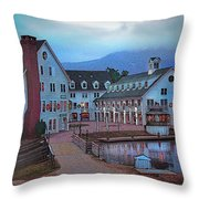 Dusk Before Snow At Town Square Throw Pillow