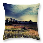 Dusk In The Pasture Throw Pillow by Garren Zanker