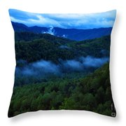 Dusk In The Smoky Mountains   Throw Pillow
