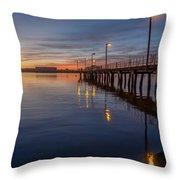 Dusk Settles On Del Norte Pier Throw Pillow