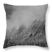 Dusted Flatirons Low Clouds Boulder Colorado Bw Throw Pillow