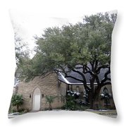 Dusting Of Snow At Church On Pennsylvania St Fort Worth Tx Throw Pillow