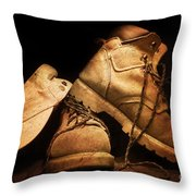 Dusty Work Boots Throw Pillow