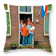 Dutch Family On Orange Day In Enkhuizen-netherlands Throw Pillow