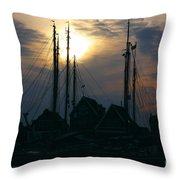Dutch Harbour By Night Throw Pillow