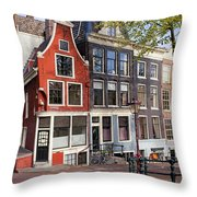 Dutch Style Traditional Houses In Amsterdam Throw Pillow