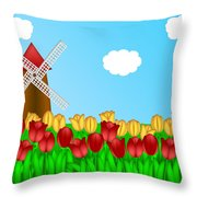 Dutch Windmill In Tulips Field Farm Illustration Throw Pillow