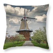 Dutch Windmill The Dezwaan On Windmill Island In Holland Michigan Throw Pillow