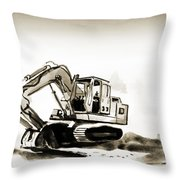 Duty Dozer In Sepia Throw Pillow by Kip DeVore