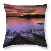 D.wiggett Canoes On Shore, Pink And Throw Pillow by First Light