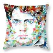 Dylan Thomas - Watercolor Portrait Throw Pillow