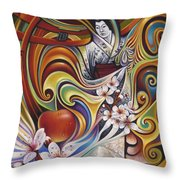 Dynamic Blossoms Throw Pillow
