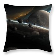 Dynamic Space Scene With Incoming Throw Pillow