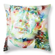E. E. Cummings - Watercolor Portrait Throw Pillow