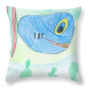 E' S Blue Fish Throw Pillow