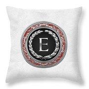 E - Silver Vintage Monogram On White Leather Throw Pillow