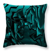 E Vincent Aquamarine Throw Pillow