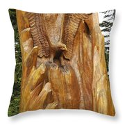 Eagle Emerges From A Tree Throw Pillow