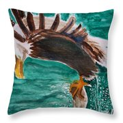 Eagle Fishing Throw Pillow