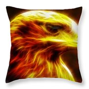 Eagle Glowing Fractal Throw Pillow