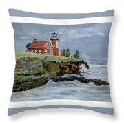 Eagle Harbor Lighthouse Throw Pillow