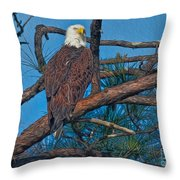 Eagle In Oil Throw Pillow