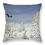Eagle On Winter Lanscape Throw Pillow
