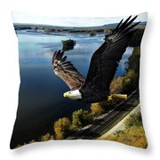 Eagle Over Mississippi  Throw Pillow