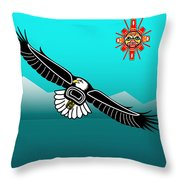 Eagle Over Olympics Throw Pillow