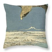 Eagle Over One Hundred Thousand Acre Plain At Susaki Throw Pillow
