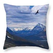 Eagle Over Peyto Lake Throw Pillow