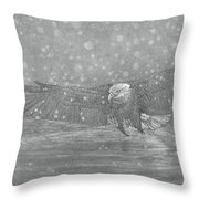 Eagle Over Water Throw Pillow