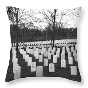 Eagle Point National Cemetery In Black And White Throw Pillow by Mick Anderson