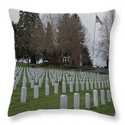 Eagle Point National Cemetery In Winter 2 Throw Pillow