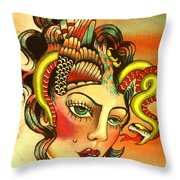 Eagle/snake Hat Throw Pillow